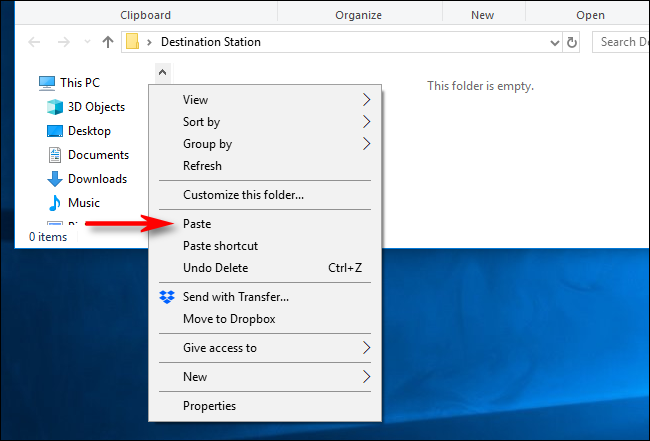 Select Paste on the Right Click menu