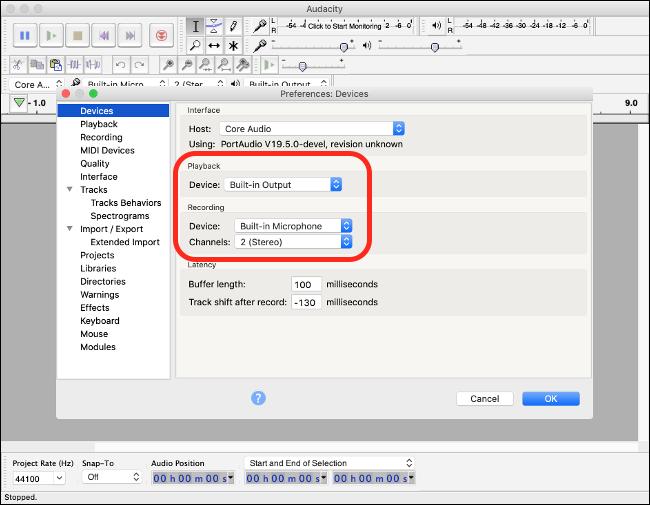 Audacity Preferences on macOS