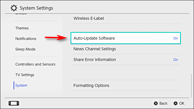 Select Auto-Update Software in Nintendo Switch Settings