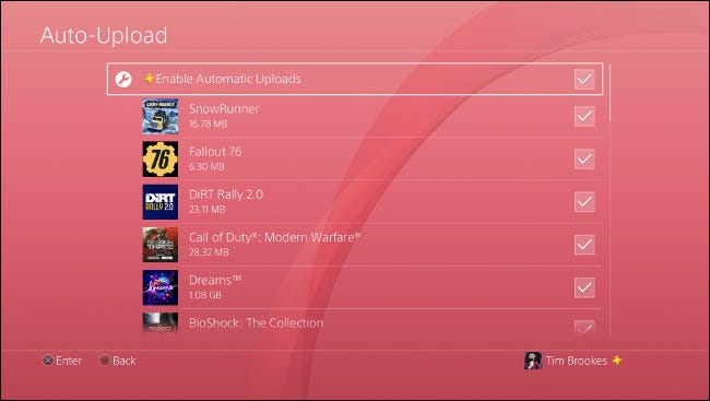 """The """"Auto-Upload"""" menu on PS4."""