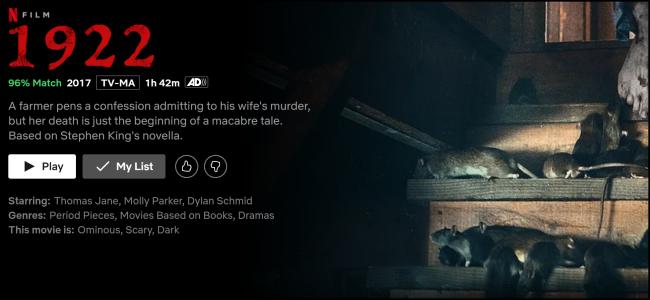"""A página de exibição """"1922"""" no Netflix."""