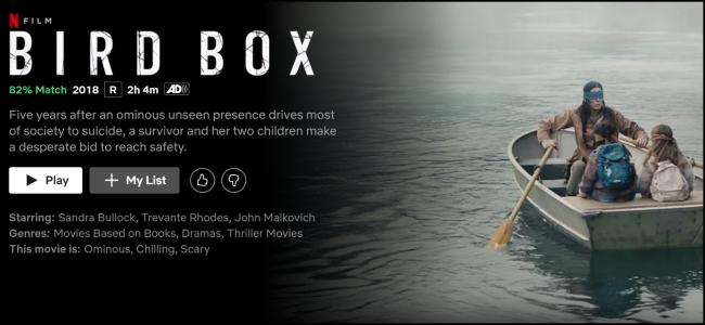 """A página de exibição """"Bird Box"""" no Netflix."""