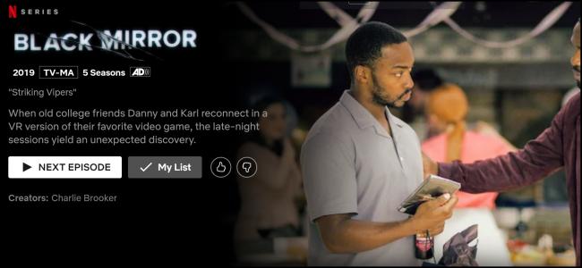 """A página de exibição """"Black Mirror"""" na Netflix."""