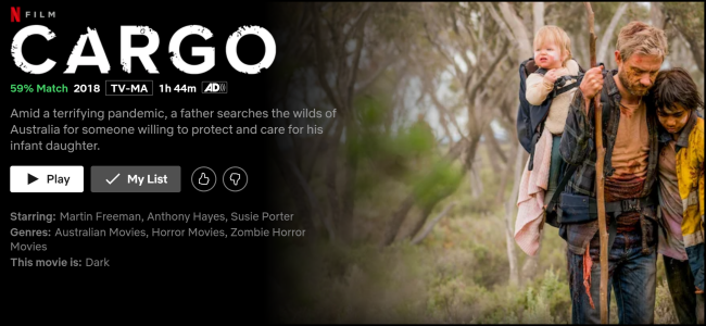 "The ""Cargo"" watch page on Netflix."