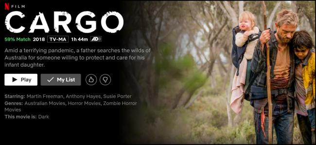 """A página de exibição """"Cargo"""" no Netflix."""
