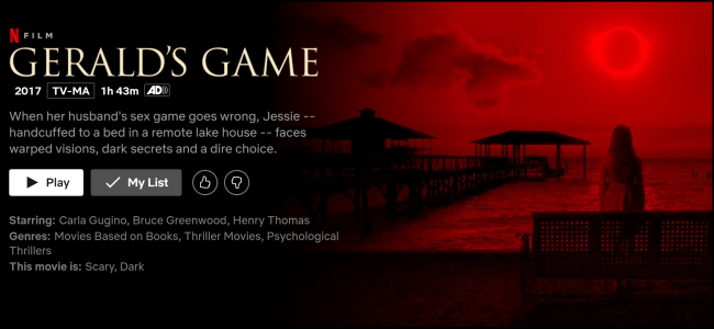 "The ""Gerald's Game"" watch page on Netflix."