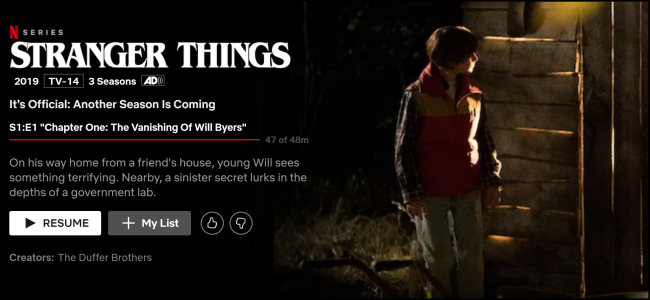 "The ""Stranger Things"" watch page on Netflix."