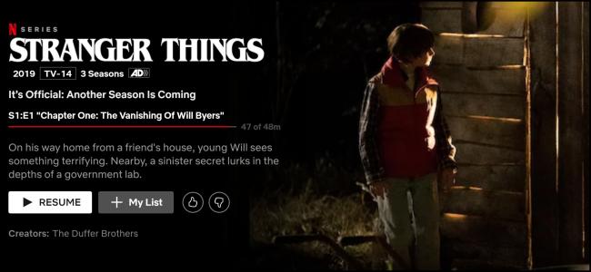 """A página de exibição """"Stranger Things"""" no Netflix."""