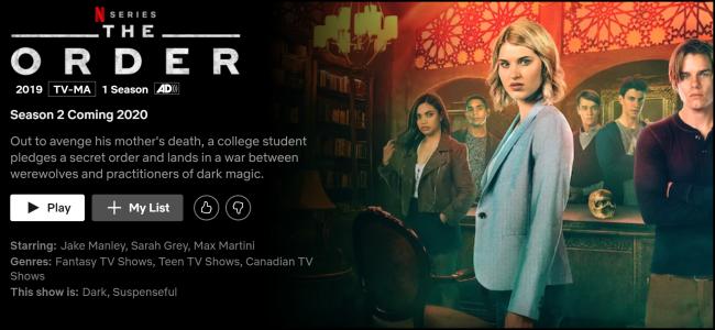 """Página de exibição """"The Order"""" no Netflix."""
