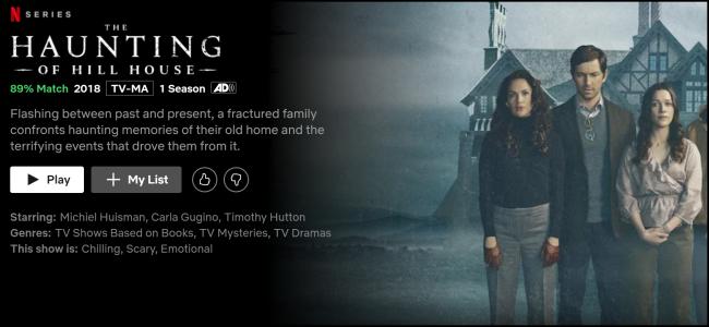 """Página de exibição """"The Haunting of Hill House"""" no Netflix."""