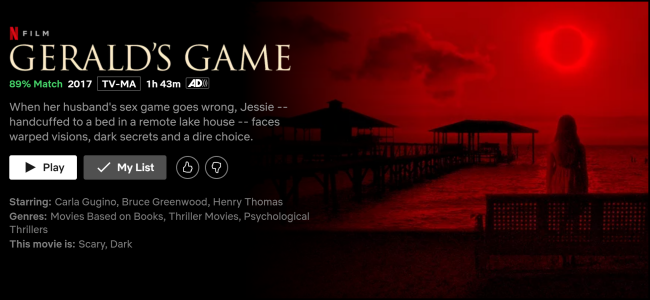 "The ""Gerald's Game"" watch screen on Netflix."