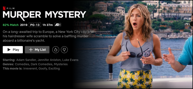"The ""Murder Mystery"" watch page on Netflix."