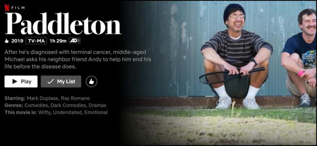 "Netflix上的"" Paddleton""观看页面。"