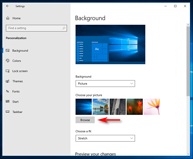 Click Browse to choose a desktop wallpaper in Windows 10