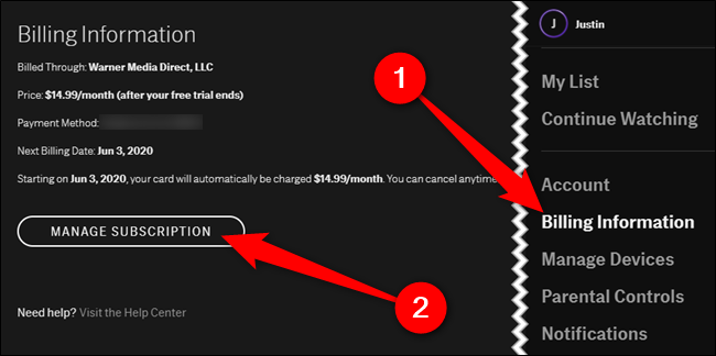 "Choose the ""Billing Information"" tab and then click the ""Manage Subscription"" button"