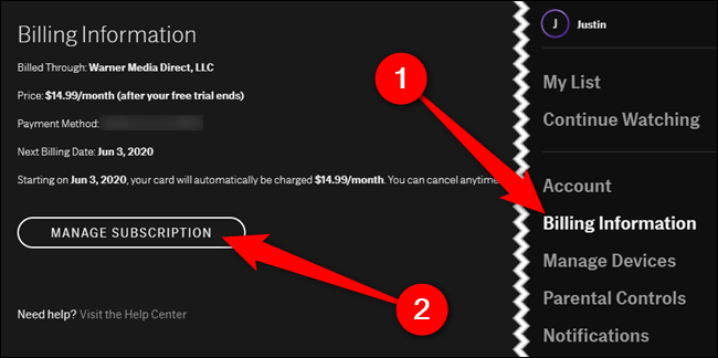 """Choose the """"Billing Information"""" tab and then click the """"Manage Subscription"""" button"""