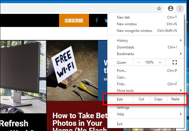 Copiar, recortar e colar no menu do Chrome