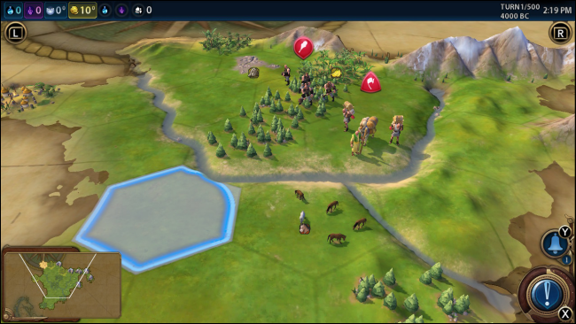 Civilization 6 on Nintendo Switch with No Zoom