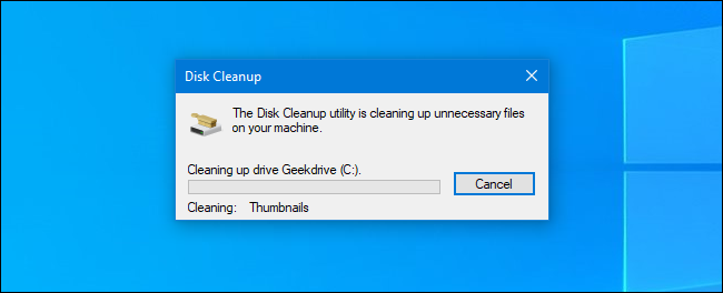 The Disk Cleanup process in Windows 10