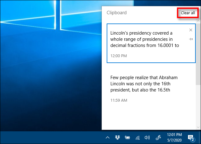 Click Clear all to remove items from your Clipboard history