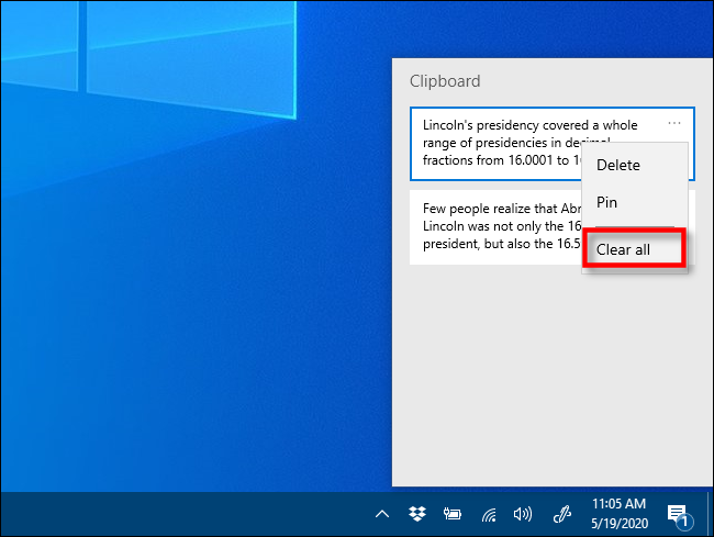 Click clear all in Clipboard history on Windows 10