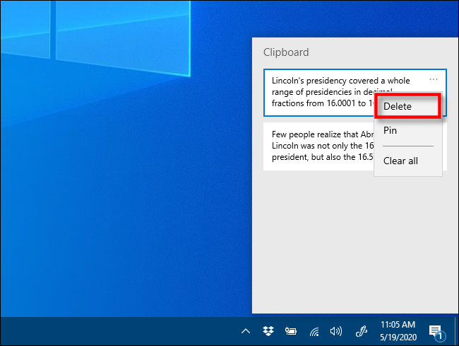 Click Delete in Clipboard history on Windows 10