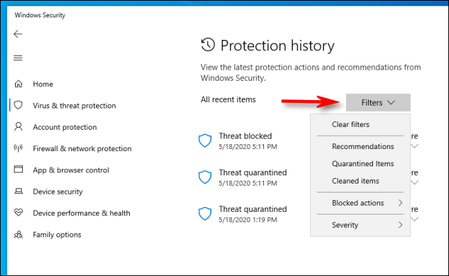 Click filters in Protection history on Windows 10