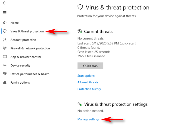 Click manage settings in Windows Security on Windows 10