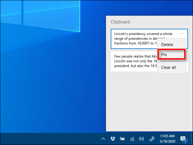 "Click ""Pin"" in Clipboard history on Windows 10."
