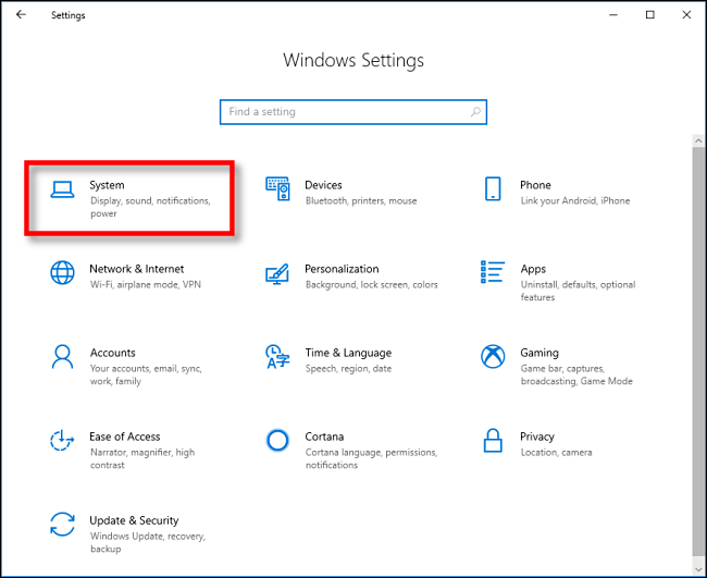 """Click """"System"""" in """"Windows Settings"""" on Windows 10."""