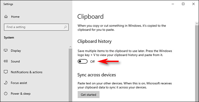 Click on the Clipboard History Switch in Windows 10 System Settings to turn it off