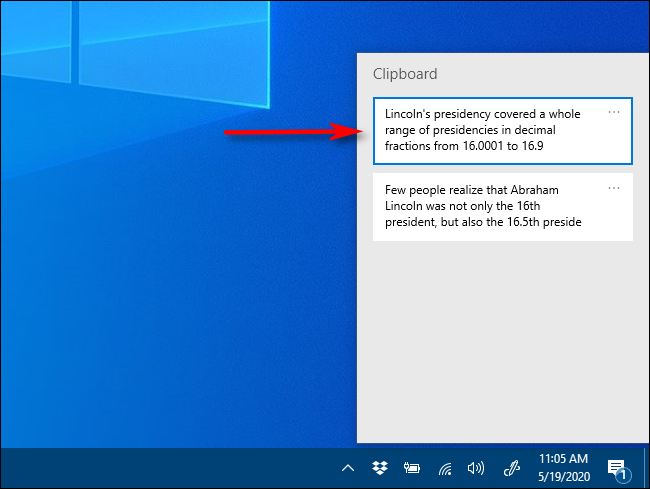 Click an item in Clipboard history to paste it into a document on Windows 10