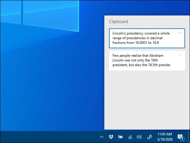 The Clipboard history pop-up window on Windows 10.