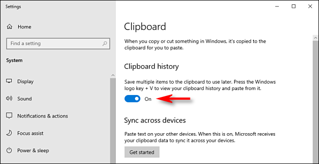 Click on the Clipboard History Switch in Windows 10 System Settings