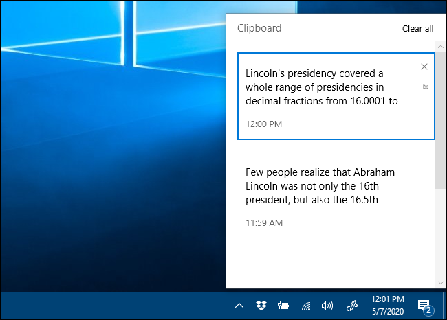 The Clipboard history window in Windows 10