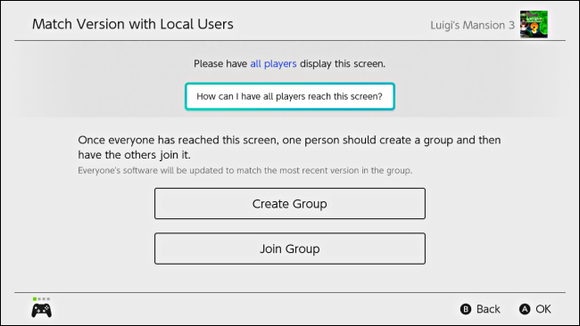 Create Group or Join Group for updating software on Nintendo Switch