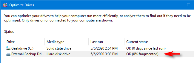 Optimization and defragmentation process complete in Windows 10