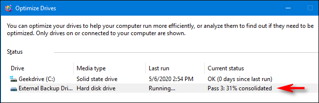 Status of optimization and defragmentation in Windows 10