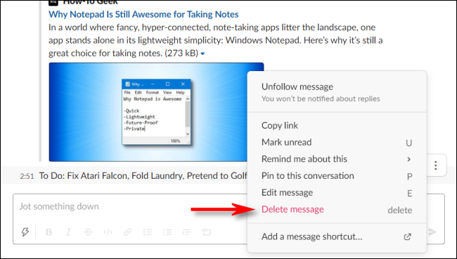 Click Delete message to delete a message to yourself in Slack