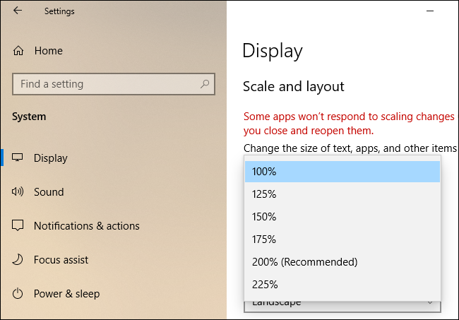 """""""Scale and Layout"""" settings on Windows 10."""