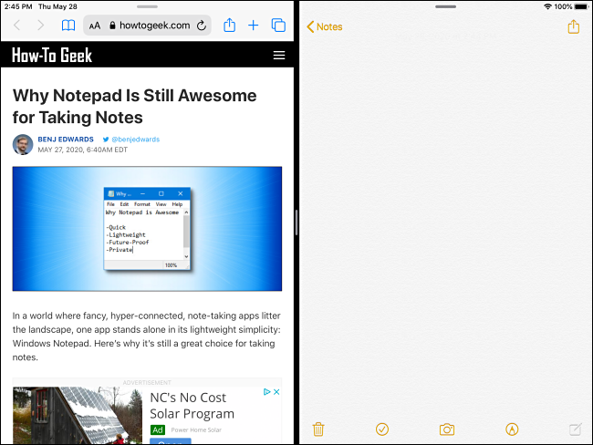 Split View on an iPad ready for drag and drop.
