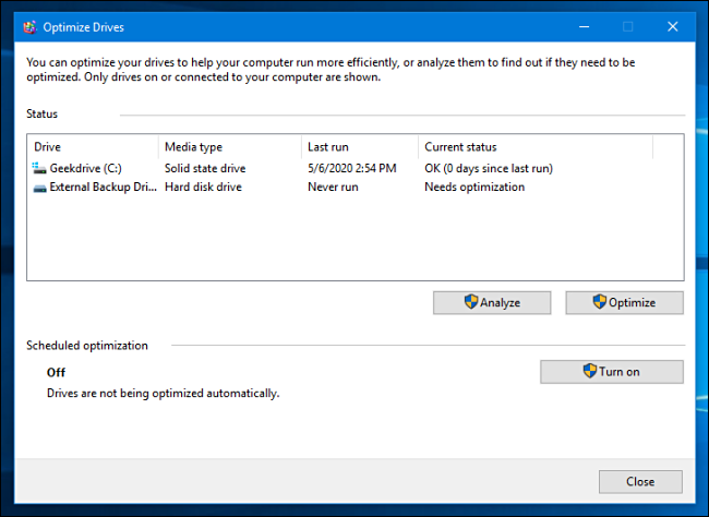 A list of drives in Windows 10 Optimize and Defragment tool