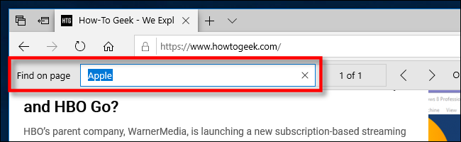 Find in page in Edge on PC