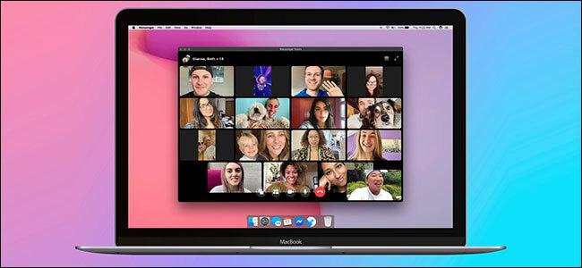 Facebook Messenger Rooms on a laptop
