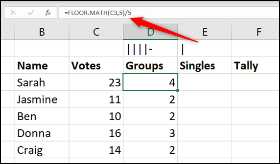 Total the groups of five