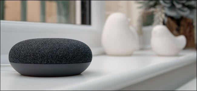 Google Home Mini Sitting on a window sill