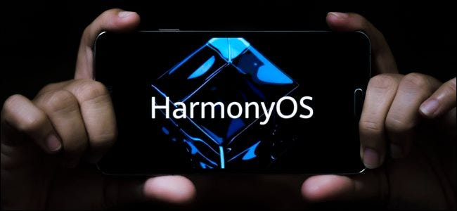 A smartphone with a HarmonyOS logo on it.