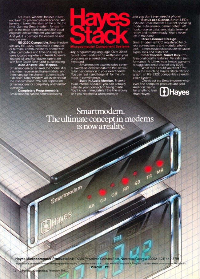 A 1982 Advertisement for the Hayes Stack Smartmodem 300.