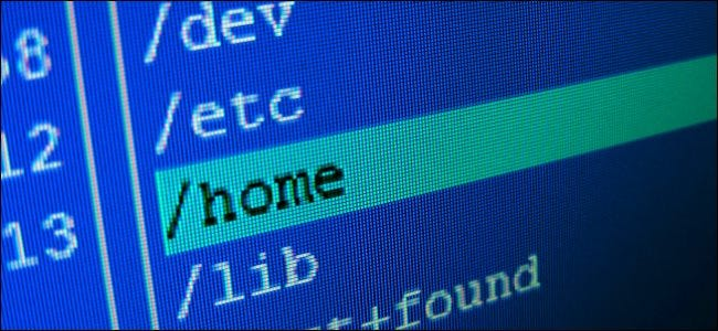 The /home directory highlighted in a graphical Linux file manager.