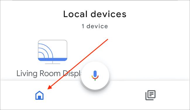 Abra o aplicativo Home e toque no ícone Home no canto inferior esquerdo do ícone do microfone.